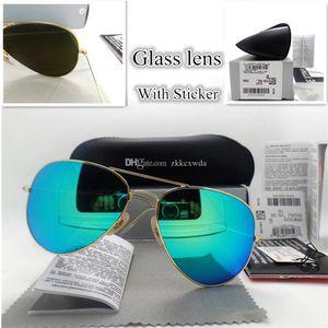 Haute qualité lentille en verre Mode Hommes et femmes Lunettes de soleil UV400 Vintage Coating Sport Polit Lunettes de soleil avec boîte et autocollant