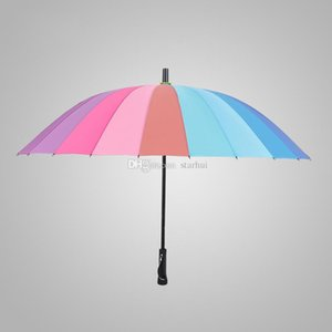 Rainbow Luxury Umbrella Long Handle 24K Straight Windproof Colorful Pongee Umbrella Adult Sunny Rainy Umbrella Parasol HH9-2117
