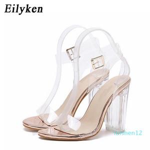 Eilyken 2020 PVC formato 35-42 Jelly Sandals Open Toe Tacchi alti Donne trasparente perspex Pantofole Thick Heel Cancella Sandalias L12