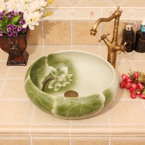 Porselen Çin Klasik Art lotus banyo seramik tezgah el boyalı seramik kap lavabo lavabolar