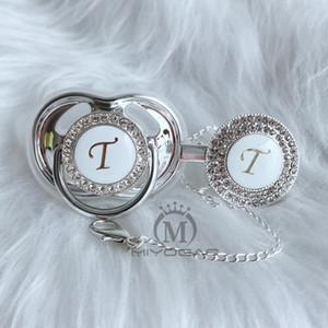 MIYOCAR name Initial letter T elegant silver bling pacifier and pacifier clip BPA free dummy bling unique design SGS pass LT