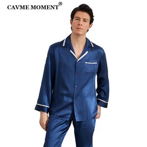 CAVME Erkekler Homme en Luxury Homwear Baba pijamalar 2 adet PLUS SIZE Klasik Tasarım Katı Renk% 100 İpek Pajama