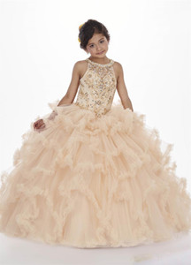 Şeffaf Halter Boyun çizgisi Boncuklu Ruffled Etek Puffy Dantel-up Çiçek Kız Elbise ile şampanya Kızlar Yarışması Elbiseler Kat Uzunluk Tül Balo