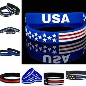 13 estilos 500PC / presentes partido Lot fina linha azul da bandeira americana pulseiras de silicone Pulseira macio e flexível Grande For Normal Day C0162