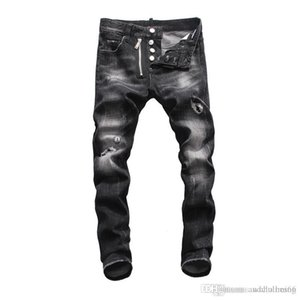 2020 High quality Mens jeans Distressed Motorcycle biker jeans Slim Ripped hole stripe Famous Brand Denim Hip Hop men pants fear of god