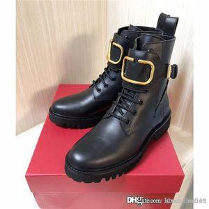 stivali di pelle calda di vendita di inverno delle donne di avvio di combattimento in pelle di vitello, Womens Martin caviglia-alta con pannelli smerigliate in nero prossimo con la scatola formato 35-40