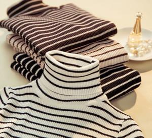 4 Cores Mulheres Camisetas Stripe Impressão T-shirt Outono Magro inverno de mangas compridas de gola alta camisa Tamanho livre