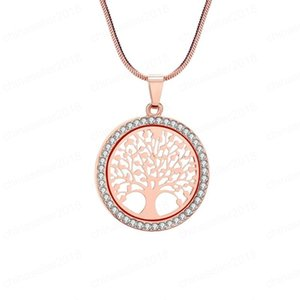 Hot Fashion personality Tree of Life Crystal Round Small Pendant Necklace Women Jewelry Gifts 3 color