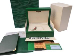 New Classic vert en bois original Coffret carte certificat Wallet vert Sac papier cadeau cuir Daydate Sous 116618 Rollie Puretime 5Ac3