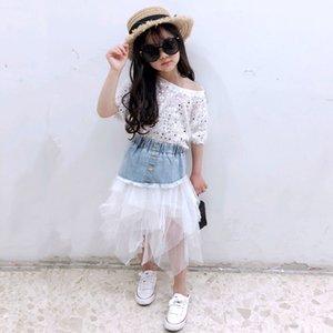 Frühlings- und Sommermädchen Tutu Baby Jeansrock Kinder Art und Weise Rockkinder Böden Street Jeans Netzschichtet 4 bis 14 Jahre Y200704