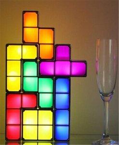 Bloco de Tetris Puzzle Light empilhável LED Desk Lamp DIY constructible LED Bloco Toy Luz retro Torre Jogo do bebê NightLight