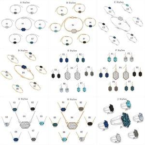 14 Stile Druzy pietra collana ciondola orecchini braccialetto anelli per le donne geometrica Pietre naturali designer di gioielli di lusso