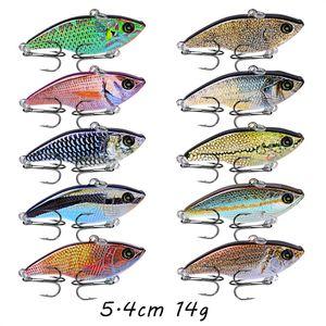 1pc VIB Plastic Hard Baits & Lures 10 Color Mixed 5.4CM 14G 8# Hook Fishing Hooks Pesca Fishing Tackle B14_120