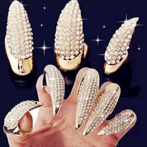 Faux Halloween strass Costume Nails Anneau Gothique Punk Eagle Claw Finger manches Femme Homme cosplay mascarade outil