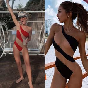 2020 Sexy Illusion Women Traje de baño de verano Un hombro mansiones Sin mangas Ropa Desgaste de la fiesta Trajes de baño Casual Ropa de una pieza Bikini