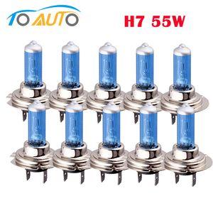 램프 H7 전구 6000K 55w 10PCS 자동차 등 자동차 안개 할로겐 전구 흰색 빛 램프 12V 자동차 스타일링
