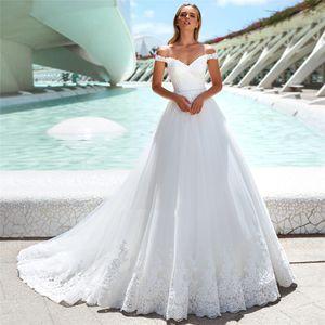 A spalle A-Line Abiti da sposa 2020 Lace Appliques Bandage lungo posteriore Vintage Abiti da sposa su misura a buon mercato Vestiti de mariée formale