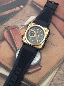 BRX1-CETIRED Mens pulso Outdoor Skeleton Dial Com prata-tom mãos relógio cronógrafo de quartzo caso de ouro Praça Relógios Forma