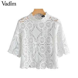 Vadim frauen elegante stickerei aushöhlen bluse kurzarm stehkragen weiße weibliche beiläufige abnutzung top blusas da297