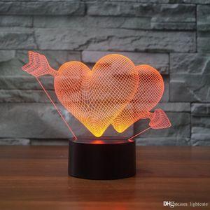 Ilusão Seta Amor 3D do Cupido Noite Light Touch 7 Presentes mudança da cor presente Lamp LED Home Decor Baby Girl Boy Crianças Xmas Natal