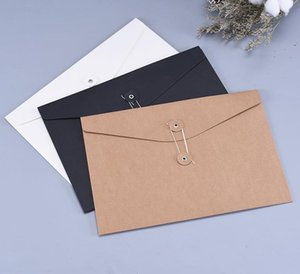 400pcs Brown Kraft Paper A5 A4 Document Holder File Storage Bag Pocket Envelope with Storage String Lock Office Supply Pouch SN