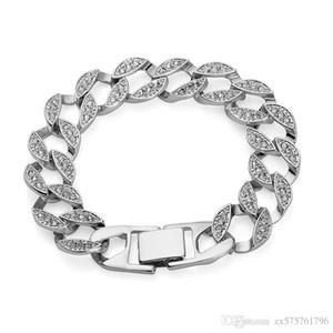 Fashion Men Cuban Chain Bracelets Full Rhinestone Design Double Safety Clasps Link Punk Rock Hip Hop Jewelry Men Bracelets