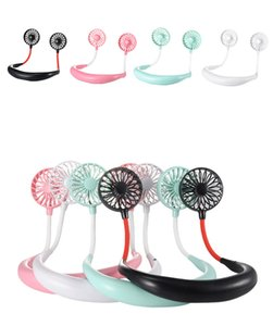 Hanging Neck mini Fan USB Rechargeable Neckband Lazy Neck Hands Free Hanging Dual Cooling Mini Fan Sport 360 Degree Rotating