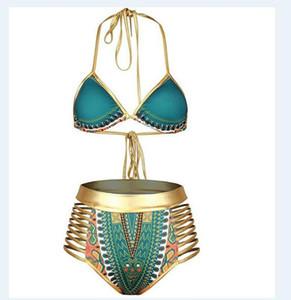 بيكيني مثير جنوب أفريقيا الذهبي الرسن عالية مخصر بيكيني عالية الخصر السباحة قطعتين ملابس النساء المايوه CNY1264