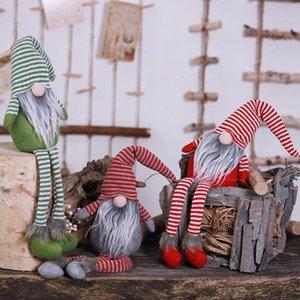 Noël en peluche Père Noël Doll Décoration Striple jambes longues debout poupée Boule de Noël Arbre de Noël FFA3121-1 enfants pendentif décoration cadeau