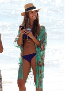 sunscreen chiffon green tassel coat beach holiday chiffon beach sunscreen clothing blouse Top shawl Coat shawl