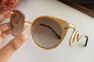 Kadın Taşlar Yılan Güneş Gözlüğü 890 Altın / Kahverengi Duman Degrade Güneş Gözlükleri Kedi Göz Güneş Gözlüğü Kutusu Ile Yeni