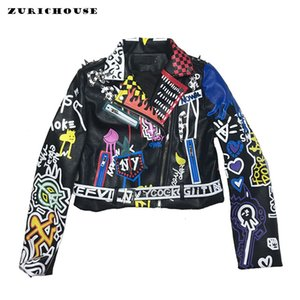 ZURICHOUSE Punk Veste en cuir pour les femmes 2020 Mode coloré Graffiti Rivet Faux cuir Motard Vestes et manteaux