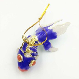 10.5cm Enamel Vivid Swing Fish Charms Christmas Decorations for tree Lucky Goldfish Pendant Ornaments Cloisonne Fancy Charms gifts with box