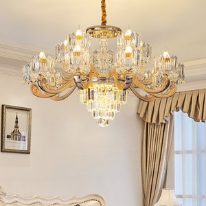 New design European 15-light Dia. 90cm x H 55cm zinc alloy chandelier crystal lighting led pendant light for villa living room bedroom