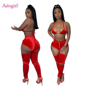 Adogirl Women Sexy Night Club Velvet Two Piece Set Christmas Party Suit Bra Top Cutout Skinny Pants Female Fashion Outfits
