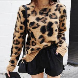 Suéteres para mujer diseñador diseñador de las mujeres suéter de la impresión del leopardo de la cachemira de las mujeres del suéter suéter suéter de punto Jerseys de invierno de los puentes Tops