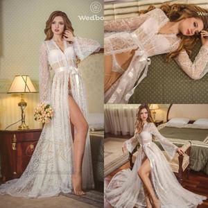 Sexy Lace nupcial Nightgown Night Dress mangas compridas Nightgown Nightdress Mulheres Pijamas Roupa de Noite Para vestido nupcial Boudoir