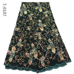 새로운 디자인 아프리카 레이스 패브릭 얇은 망상 벨벳 장식 끈 패브릭 패브릭 여성용 드레스를위한 고품질 프랑스 그물 레이스 원단