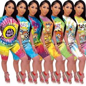 Kadınlar İki Adet Şort Seti Yaz Tasarımcı Karikatür Kısa Kollu T Shirt 2 Adet Set Eşofman Sportsuit Şort Pantolon Spor Suit 8665