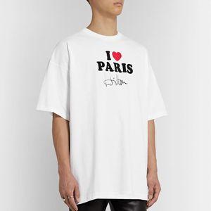 20SS VT I Love Paris manuscrita firma impresa camiseta calle manga corta verano Casual sólido camiseta Hip Hop transpirable camiseta HFYMTX628