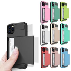 Faites glisser le portefeuille de cartes de crédit slot PC Phone Case pour iPhone 11Pro Max XR XS Max 8 7 6Plus TPU armure anti-choc Couverture arrière