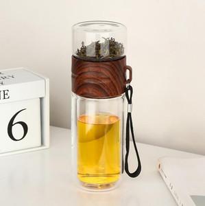 Новый двойной стеклопакет портативной высокотемпературной прозрачной воды чашка чашка чая творческой чашка чай разделение