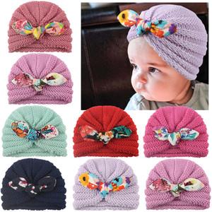 Yeni Bebek Kız Erkek Örme Turban Tavşan Kulakları Bow Şapka Bebek Çocuk Kafa Wrap Kafa Katı Şeker Renk Yün Cap 6M-4T