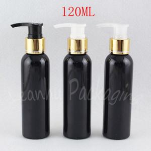 Altın Losyon Pompası, 120cc Şampuan / Losyon ile 120ML Siyah Yuvarlak Omuz Plastik Şişe Şişe Ambalaj, Makyaj Alt şişeleme