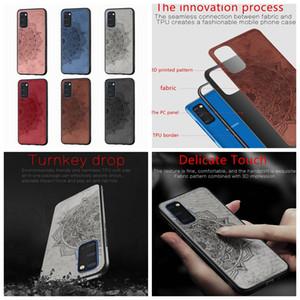 Datura Blumen-Spitze-Kasten für Samsung Galaxy S20 Ultra Plus A51 A71 A81 A91 harten PC + TPU Mandala Cloth Luxus-Haut-Handy-Cover-Rückseite
