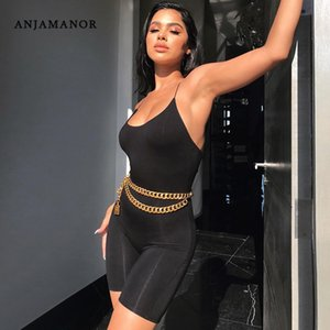 ANJAMANOR Black Sexy Rompers Womens Jumpsuit One Piece Outfit Women Strappy Backless Biker Shorts Bodycon Playsuit Summer D53I14 T200702