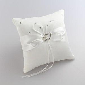 20x20cm Cojín de anillo blanco Almohadas Cojines Fiesta de bodas Cristal Rhinestone Doble corazón Accesorios de boda Almohada de anillo