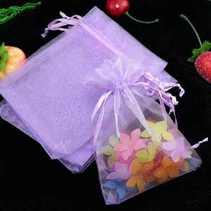Einfaches 5x7cm Lavendel-Farben-Organza-Schmucksache-Geschenk sackt kleinen Drawstring preiswerte Organza-Taschen 100pcs / lot ein Großhandels