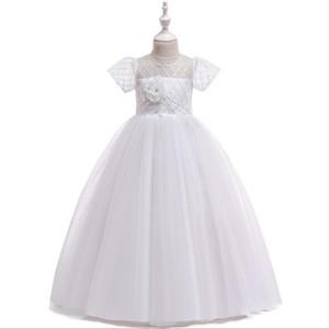 New White Tulle Girls Prom Flower Girl Vestidos de novia Fiesta infantil Princesa Pageant Vestido de cumpleaños Vestido de primera comunión