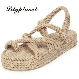 Lilyptuart 2020 Tamaño Grande 43 en la venta de calidad superior Gladiador cáñamo plana resbalón en los zapatos de las sandalias de la paja del verano mujeres mujer T200628